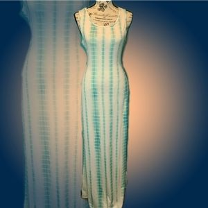 Turquoise Tie Die Maxi Dress